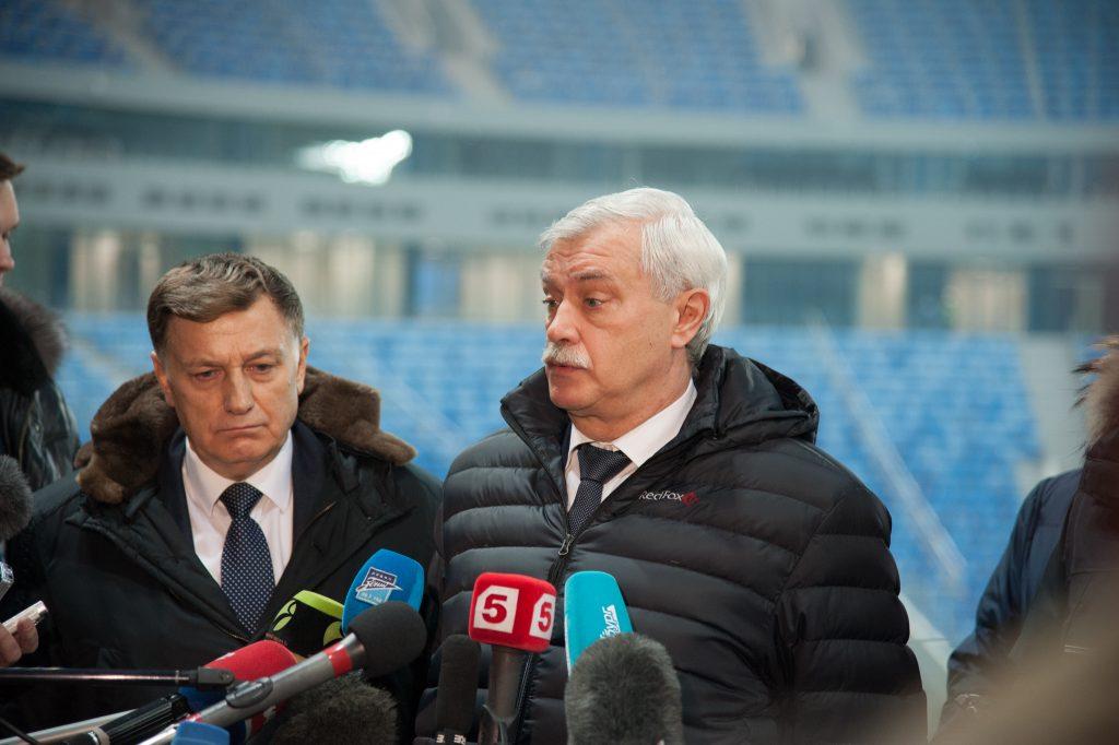 """Губернатор Г.С. Полтавченко на стадионе """"Санкт-Петербург-арена"""""""